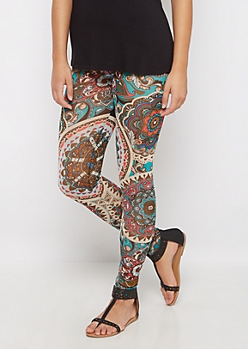 Paisley Sheer Mesh Legging