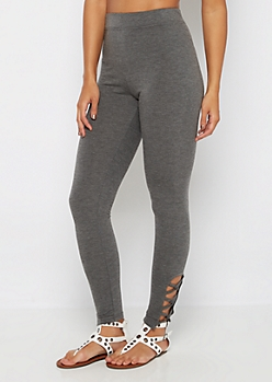 Charcoal Caged Ankle Legging