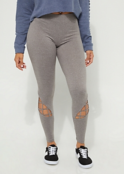Charcoal Caged Strap Detail High Waist Leggings