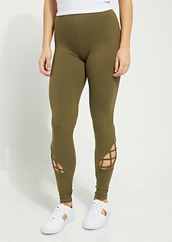 Olive Caged Strap Detail High Waist Leggings