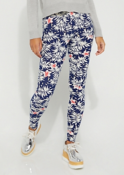 Navy Floral Print High-Rise Leggings