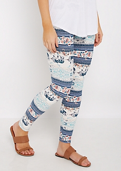 Tribal Floral Elephant Soft Brushed Legging