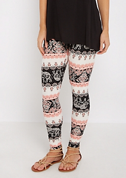 Floral Elephant Soft Brushed Legging