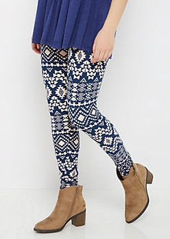Navy Aztec Soft Brushed Legging