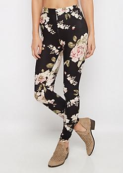 Black Vintage Rose Brushed Legging