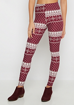 Burgundy Fair Isle Soft Knit Legging