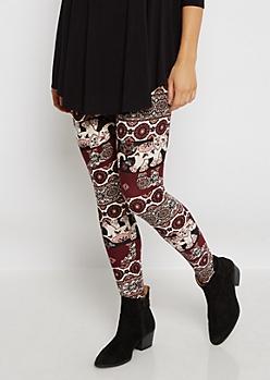 Pink Boho Elephant Soft Knit Legging
