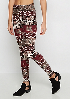 Boho Elephant Soft Knit Legging