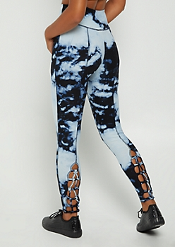 Blue Tie Dye Lattice High Rise Legging