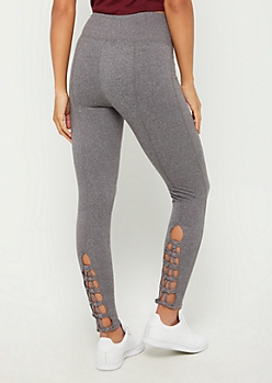 Charcoal Gray Lattice Ankle High Rise Legging
