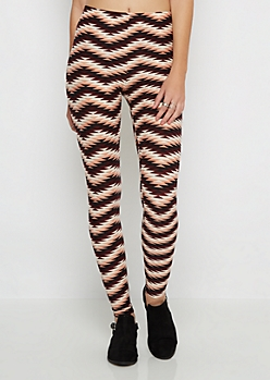 Tri-Tone Geo Chevron Brushed Legging