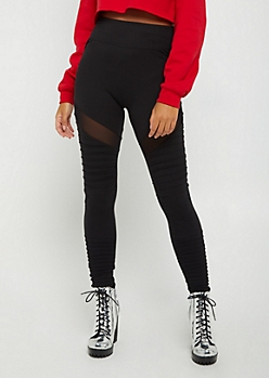 Black Mesh Moto High Rise Legging