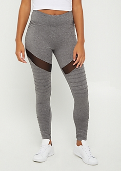 Charcoal Gray Mesh Moto High Rise Legging