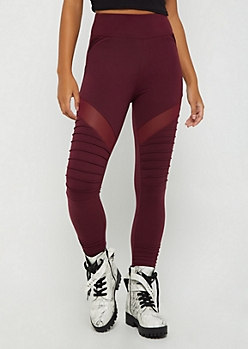 Purple Mesh Moto High Rise Legging