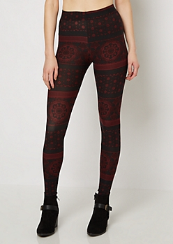Burgundy Folklore Medallion Brushed Legging