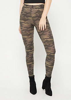 Dark Green Camo High Rise Soft Brushed Legging