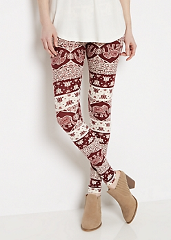 Bohemian Elephant Soft Knit Legging