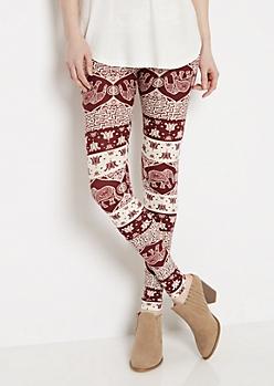 Bohemian Elephant Soft Knit Legging