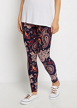 Coral Paisley Soft Knit Legging