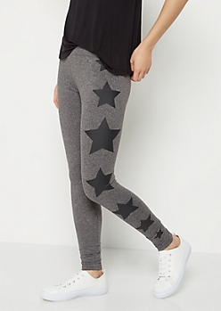 Charcoal Gray Star High Rise Legging