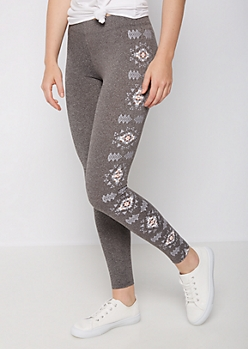 Charcoal Heather Aztec High Rise Legging