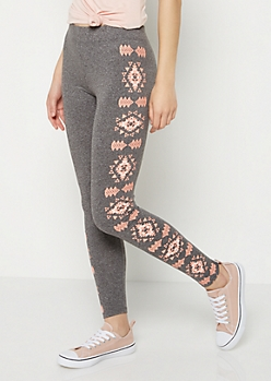 Charcoal Gray Aztec High Rise Legging