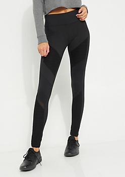 Black Moto Mesh Panel Legging