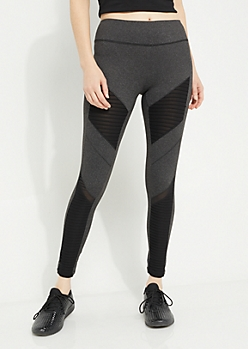 Charcoal Gray Mesh Insert Paneled Knit Leggings