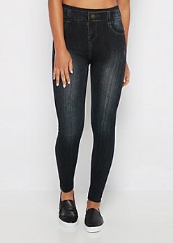 Black Sandblasted Faux Jean Legging