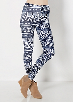 Navy Tribal Brushed Legging