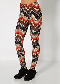Multi Tribal Chevron Brushed Legging