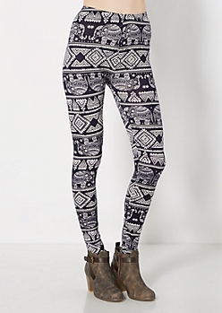 Tribal Elephant Brushed Legging