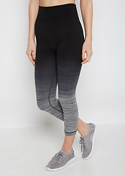 Black Ombre Space Dye Cropped Legging