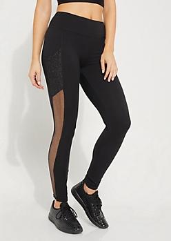 Metallic Mesh Paneled Legging