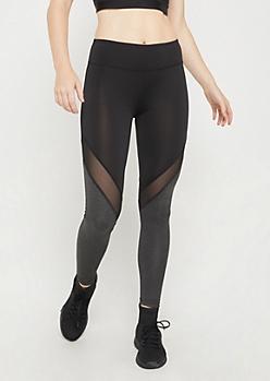 Black Mesh Knee Color Block Legging