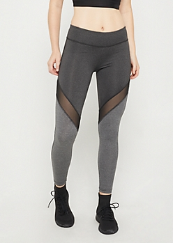 Charcoal Mesh Knee Color Block Legging