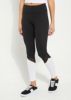 White Mesh Color Block Legging