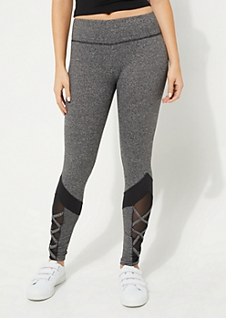 Charcoal Mesh Lace Up Ankle Legging