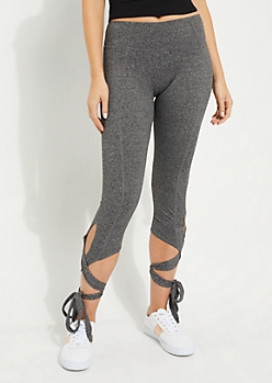 Heather Gray Lace Up Dance Legging