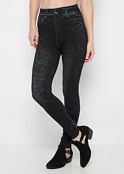 Black Crinkled Faux Jean Slimming Legging