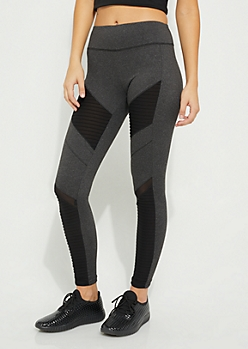 Charcoal Gray Mesh Moto Legging