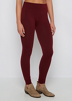 Burgundy Slimming French Terry Legging