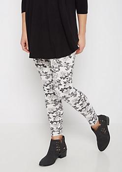 Black & White Rose Soft Knit Legging