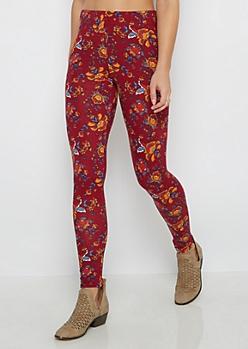 Burgundy Floral Folklore Soft Knit Legging