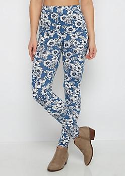 Blue Daisy Soft Knit Legging