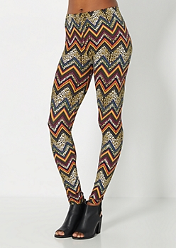 Cheetah Chevron Brushed Legging