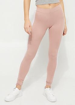 Light Pink High Rise Varsity Stripe Leggings
