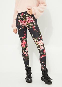 Black Background Blush Floral Bunch Soft Brushed Leggings