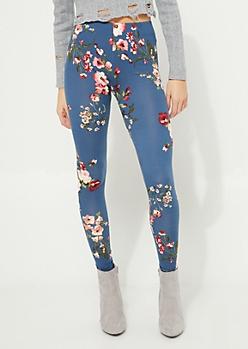 Navy Floral Bunch Soft Brushed Legging