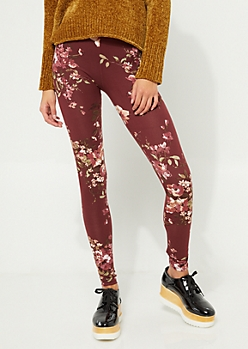 Burgundy Floral Bunch Soft Brushed Legging